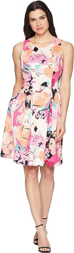 Sleeveless Multi Seam Fit & Flare Dress