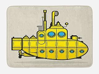 Ambesonne Yellow Submarine Bath Mat, Retro Grunge Marine Vessel Industrial Nautical Ocean Theme, Plush Bathroom Decor Mat with Non Slip Backing, 29.5