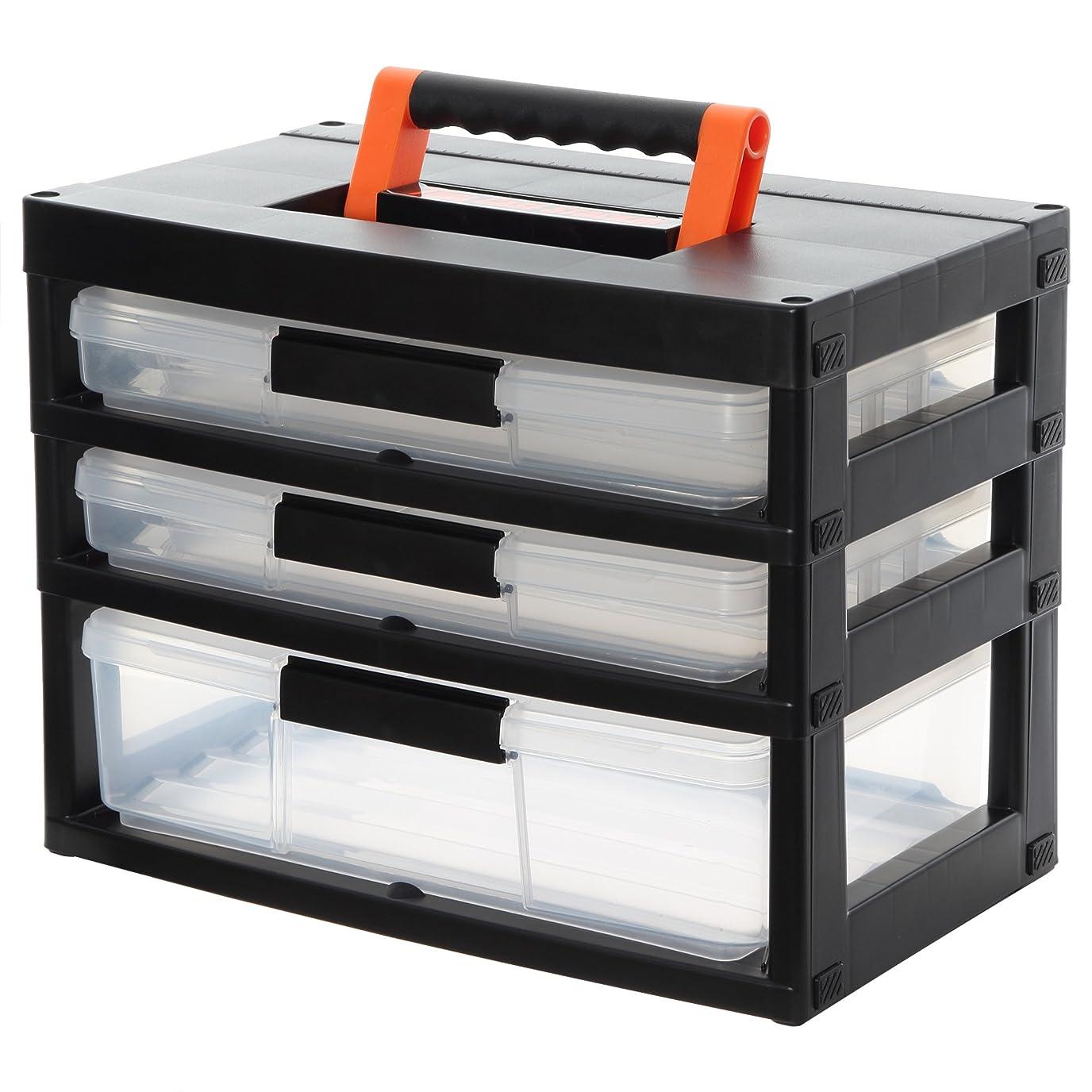 立方体キノコエリートアイリスオーヤマ 職人の車載ラック専用 工具箱 ツールケースストッカー ブラック/オレンジ TCR-421