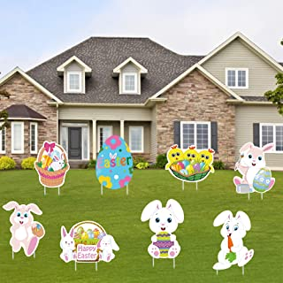 Tifeson Easter Bunny Yard Signs Decorations Outdoor - 8 PCS Large Easter Eggs, Bunny, Chick Corrugated Yard Signs with Sta...