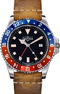 Davosa Professional Men Watch, Quality Swiss Made Quartz, GMT Dual Time Analog Dial, Luxury Vintage Fashion Wrist Band Watch