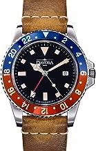 Davosa Professional Men Watch, Quality Swiss Made Quartz, GMT Dual Time Analog Dial, Luxury Vintage Fashion Wrist Band Watch
