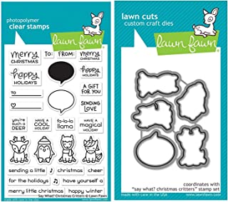 Lawn Fawn Say What? Christmas Critters Clear Stamp Set and Coordinating Lawn Cuts Custom Craft Dies Two Item Bundle (LF1778, LF1779)