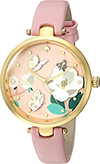 Kate Spade Watches Gold-Tone and Lemonade Pink Leather Holland Watch