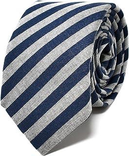 Oxford Collection Corbata de hombre Azul y Gris a Rayas - 100% Lino - Clásica, Elegante y Moderna - (ideal para un regalo,...