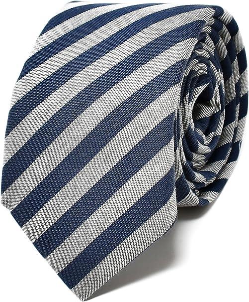 Oxford Collection Corbata de hombre Azul y Gris a Rayas - 100% Lino - Clásica, Elegante y Moderna - (ideal para un regalo, una boda, con un traje, en ...