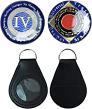 (Set Of 2 Items) 4 Year Blue NA Gold Color Tri-Plated Recovery Clean Time Coin, Medallion + Coin Holder