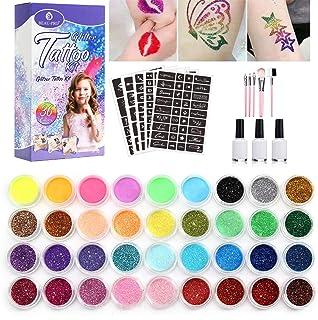 Glitzer Tattoo Set ny tatueringssats temporär glitter tatuering makeup kropp 24 färger stora och 160 schabloner glitter ko...