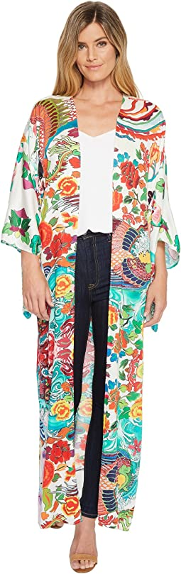 Fortune Favors the Bold Satin Woven Kimono