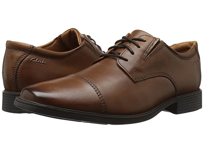 Edwardian Men's Shoes & Boots | 1900, 1910s Clarks Tilden Cap Dark Tan Leather Mens Shoes $44.99 AT vintagedancer.com