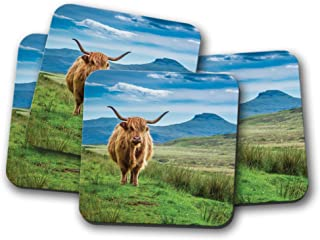 4 Set - Fluffy Highland Cow Coaster - Cattle Scotland Nature Animals Gift #15513