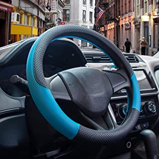 Car Steering Wheel Cover, Universal 15 Inch, Non-Slip, Anti-Oxidation, Odorless, Very Strong, Sleek Design, Very Soft.Black and Blue Beautiful Atmosphere.…
