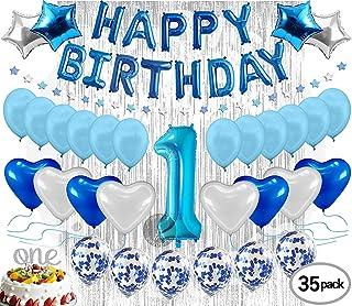 بالونات زينة عيد ميلاد العام الاول للاطفال - بالونات زينة، شريط، رقم 1، ستائر وحجرة تصوير