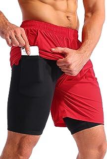 Pudolla Men's 2 in 1 Running Shorts 7