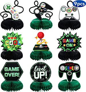 9 Pieces Video Game Party Decorations Supplies Video Game Honeycomb Table Centerpieces Cutouts for Video Game Birthday Baby Shower Theme Party Supplies