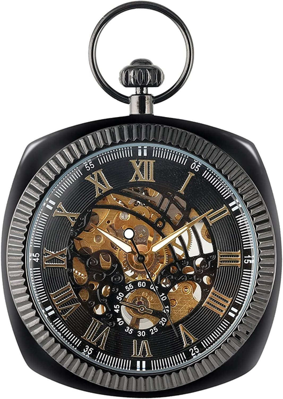 ZHAOXIANGXIANG Reloj De Bolsillo Retro,Reloj De Bolsillo Mecánico De Oro Negro Plateado Antiguo, Cadena Cuadrada Única, Reloj, Coleccionables De Arte