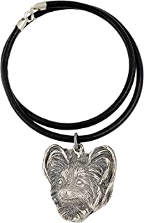 Papillon, Necklace Silver Plated Dog Pendant on a Leather Cord - ArtDog