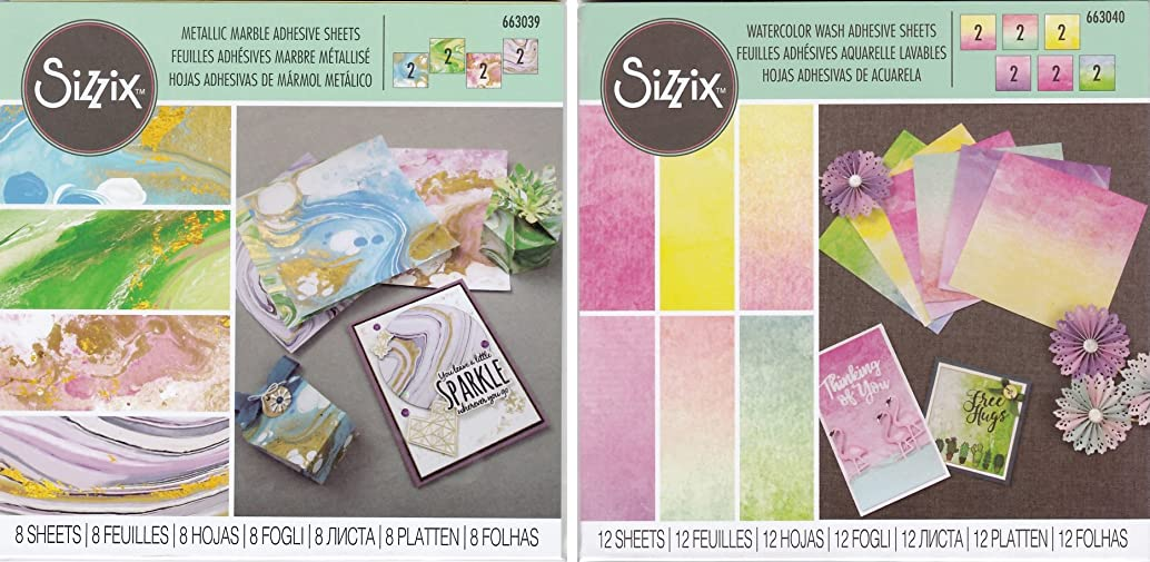 Sizzix Metallic Marble and Watercolor Wash Adhesive Sheets - Bundle of Two Packages