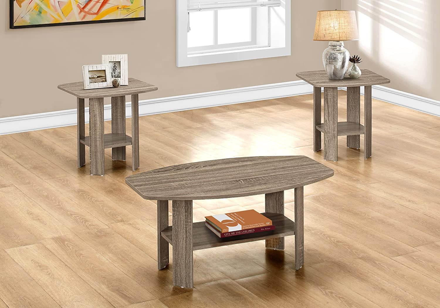 Monarch Specialties I 7927P Table Set, Dark Taupe