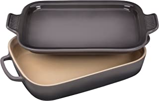 "Le Creuset Stoneware Rectangular Dish with Platter Lid, 14 3/4""x9""x2 1/2"" (2.75 qt.), Oyster"
