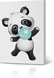 Cute Panda Bubble Gum Art Teal Blue Canvas Print Animal Print Black and White Wall Art Home Decoration Nursery Room Kids Room Decor Ready to Hang-%100 Handmade in The USA- 12x8 inches