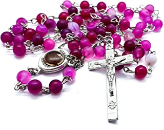 Catholic Agate Rosary Necklace Purple/Pink Matte Crystal Round Beads Mens Women Chaplet with Silver Cross & Holy Soil Medal   Derived from Holy Land - Velvet Keep Bag