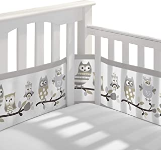 BreathableBaby Breathable Mesh Crib Liner – Classic Owl Fun Gray – Fits Four-Sided Slatted & Solid Back Cribs – Anti-Bumper