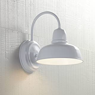 Urban Barn Farmhouse Outdoor Wall Light Fixture White Steel 11 1/4