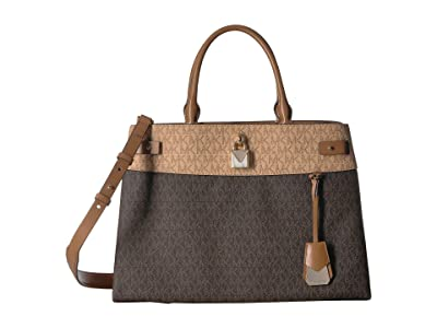 MICHAEL Michael Kors Gramercy Signature Large Satchel (Brown/Butternut/Acorn) Satchel Handbags