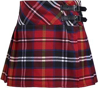 Falda Niña Ropa Verano Escocesas Cuadros Escocia Falda Plisada Básica con Hebilla Uniforme Escolar Algodón Tartán para Niñas Chicas 4 a 14 Años