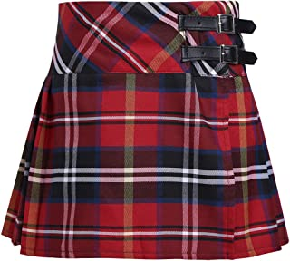 CHICTRY Girls' Kid Basic School-wear Bottoms Plaid Pleated Scooter with with Faux Leather Buckle