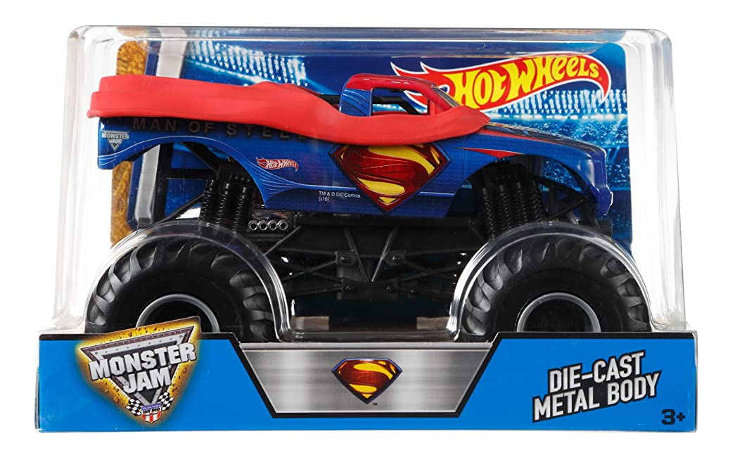 サルベージジャニス記者Hot Wheels Monster Jam 1:24 Scale Man of Steel Vehicle