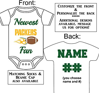 Personalized Custom Made Newest Packers Fan Football Gerber Onesie Jersey - Baby Announcement Reveal or Shower Gift