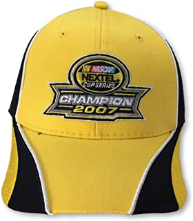 2nd Championship Edition Hat 2007 Nextel Cup Series Champion Logo Jimmie Johnson #48 Hendrick Motorsports Yellow with Black Accents & Soft White Cloth Mesh Back Hat Cap