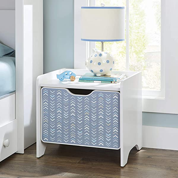 Add An Extra Touch Of Charm And Beauty To Your Kids Room With Spacious Adorable And Durable Cartwheel Nightstand White With Chevron Pattern