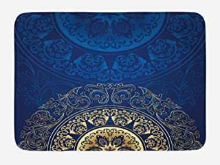 Lunarable Royal Blue Bath Mat, Vintage Eastern Circular Floral Old Fashioned Design, Plush Bathroom Decor Mat with Non Slip Backing, 29.5