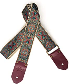 The Atlas Guitar Strap by Native Sons - Vintage Style Tapestry Strap with Leather and Woven Hemp