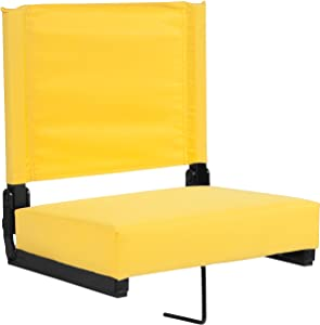 Flash Furniture XU-STA-YL-GG: Grandstand Comfort-500 Lb. Rated Stadium Chair W/Handle & Ultra-Padded Seat, Yellow, 1 Pack
