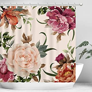 Hi Space Pink Flowers Shower Curtain Set, Rose Peony Flowers Decorative Bathroom Curtain Set, Bathroom Accessory Sets, Waterproof Floral Shower Curtains with 12 Hooks, 70.8 by 70.8 Inches