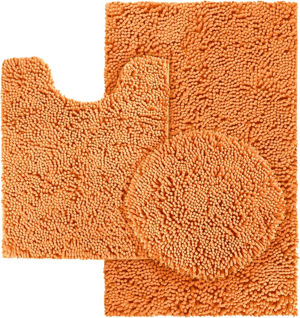 Special sale item HOMEIDEAS 3 Pieces Orange Bathroom Rugs Set Non Max 50% OFF Soft Ultra Slip