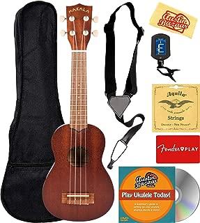 Kala MK-S Makala Soprano Ukulele Bundle with Gig Bag, Tuner, Strap, Aquila Strings,..