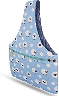 JamieCraft Yarn Bag Organizer – Portable, Light, and Easy to Carry Canvas Wrist Bag for Crochet and Knitting On The Go, Project Bag Tote Holds Supplies and 14 inch Needles Or Hooks (Blue w/Sheep)