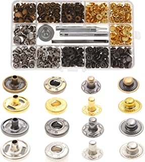 Aiskaer 120 Sets Snap Fasteners Kit, Metal Snap Buttons Press Studs with 4 Pieces Fixing Tools, 4 Color Clothing Snaps Kit for Leather, Coat, Down Jacket, Jeans Wear and Bags