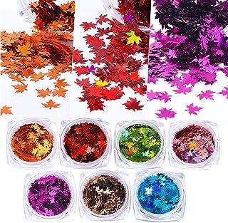 7Boxes Autumn Leaf Shape Nail Art Sequins Gold Maple Leaves Flakes Paillettes Designs Manicure Nails Glitter Decorations