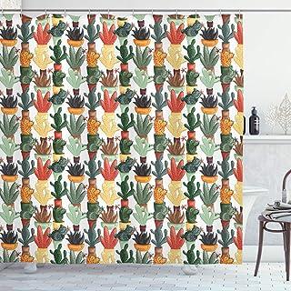 ABAKUHAUS Cactus Cortina de Baño, Planta carnosa Mexicana, Material Resistente al Agua Durable Estampa Digital, 175 x 200 cm, Multicolor