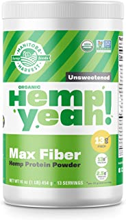 Manitoba Harvest Hemp Yeah! Organic Max Fiber Protein Powder, Unsweetened, 16oz; with 13g of Fiber, 13g Protein and 2.5g O...