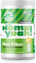 Manitoba Harvest Hemp Yeah! Organic Max Fiber Protein Powder, Unsweetened, 16oz; with 13g of Fiber, 13g Protein and 2.5g Omegas 3&6 per Serving, Keto-Friendly, Preservative Free, Non-GMO