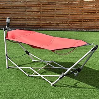 Giantex Portable Hammock with Stand, Folding Lounge Camping Bed with Carry Bag for Camping Outdoor Patio Yard Beach, 94.5