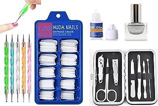 HUDA NAILS BEAUTY Nail Art Kit for Girls, Combo Kit of Silver Nail Polish / Paint + 7Pcs Manicure Pedicure kit + 100Pcs Fa...