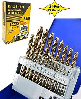 MaxTool 21 Piece Twist Jobber Length Drill Bit Set; 5% Cobalt High Speed Steel HSS M35; 135° Split Point; Fully-Ground; JBS35G10R021S